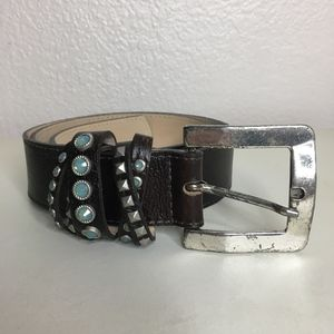 Leather Rock brown belt blue silver studs leather